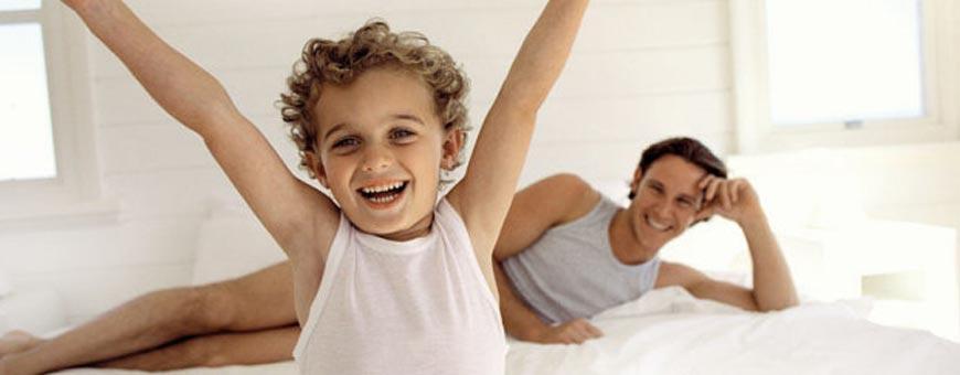 Kind en vader zijn blij
